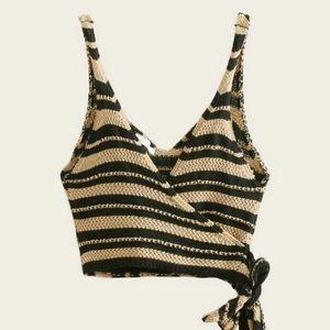 Wrap crochet crop top tie brown nude tan stripe